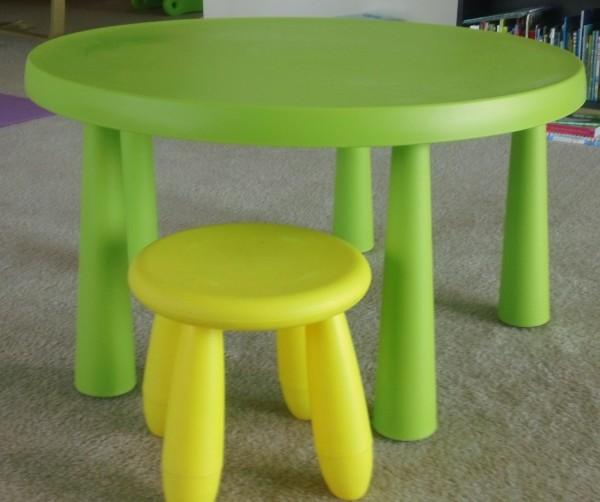트레인 테이블 구입하시면  IKEA 유아용 탁자 및 의자 같이 드리겠습니다. 약간의 크레파스 흔적이 조금 있으나 구입한 지 1년 밖에 안 된 제품입니다.