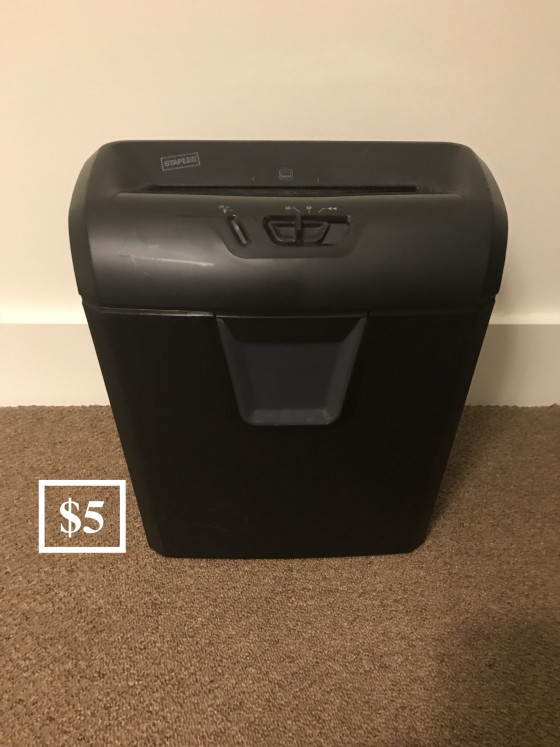 Paper shredder: $5