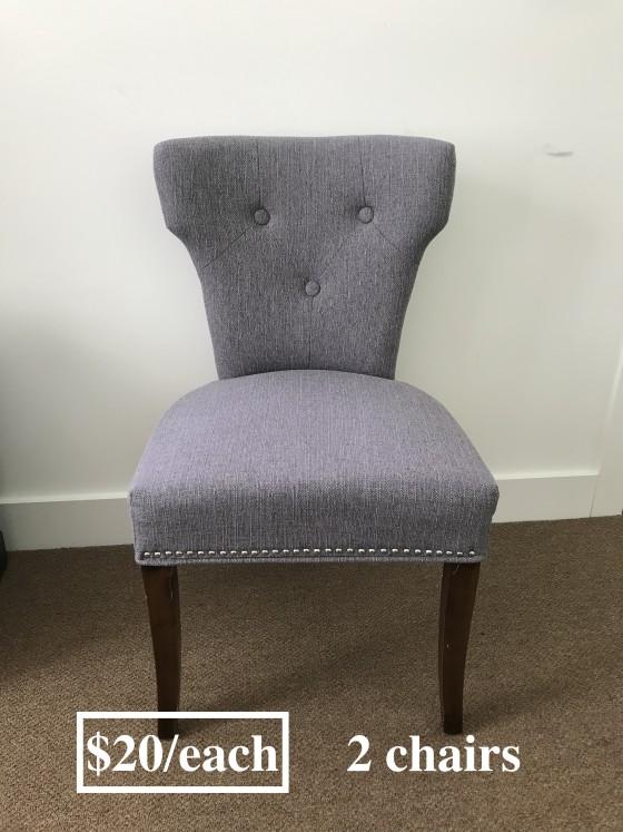Gray chairs: $20 each 두개 있습니다.